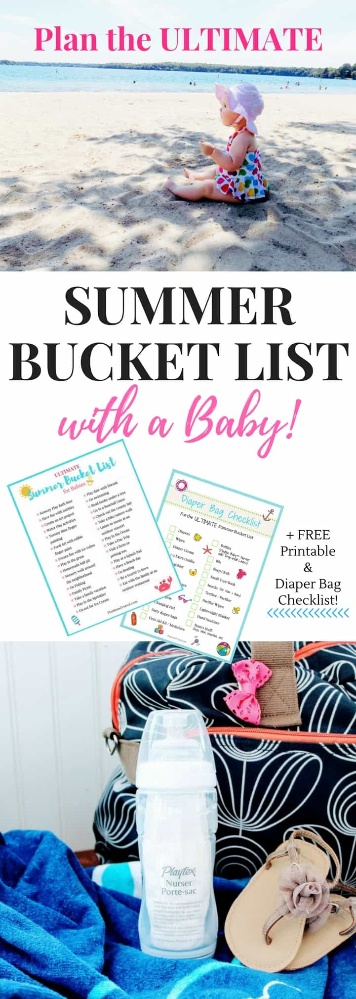 GREAT ideas on this Ultimate Summer Bucket List for Babies to create fun and lasting memories with your infant. Get out and explore, or engage in sensory play at home with these easy ideas. *FREE PRINTABLE Summer Bucket List + bonus FREE Diaper Bag Checklist* to keep you prepared! | summer activities for babies | summer ideas for toddlers | kids activities | play with baby | how to pack a diaper bag | diaper bag essentials | diaper bag for travel