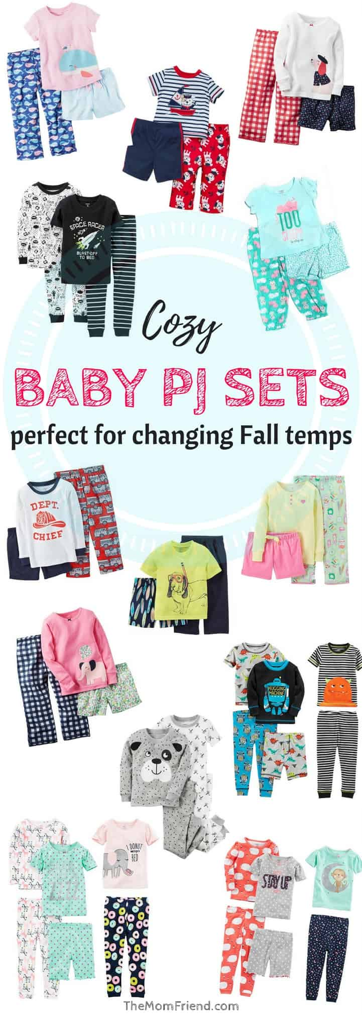 Fall brings constantly changing temperatures, and can make dressing babies and toddlers for sleep difficult. Check out these adorable PJ sets that are perfect for whatever the day (or night) might bring! | dressing baby for sleep | baby clothes | boy baby pjs | baby girl pjs | baby registry essentials | #babypjs