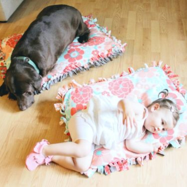 Are your dog and baby BFFs? You have to check out this adorable matching DIY No-Sew Dog Bed & Baby Floor Pillow. It is an easy tutorial for lots of fun for dogs and babies! Plus see how your pet can be a part of the @Gerber Baby Search as well this year! Dog DIY   Baby DIY   DIY Gift Ideas   #diydogbed #nosewdogbed @Purina @Target #GigglesandWiggles #ad