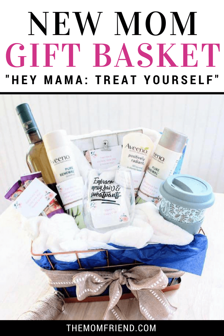 New Moms deserve a little relaxation. Moms will love this Treat Yourself new mom gift basket, full of easy ideas to take a break from life with a newborn! #newmom #baby #babygift #giftbasket #giftbasketideas #diy