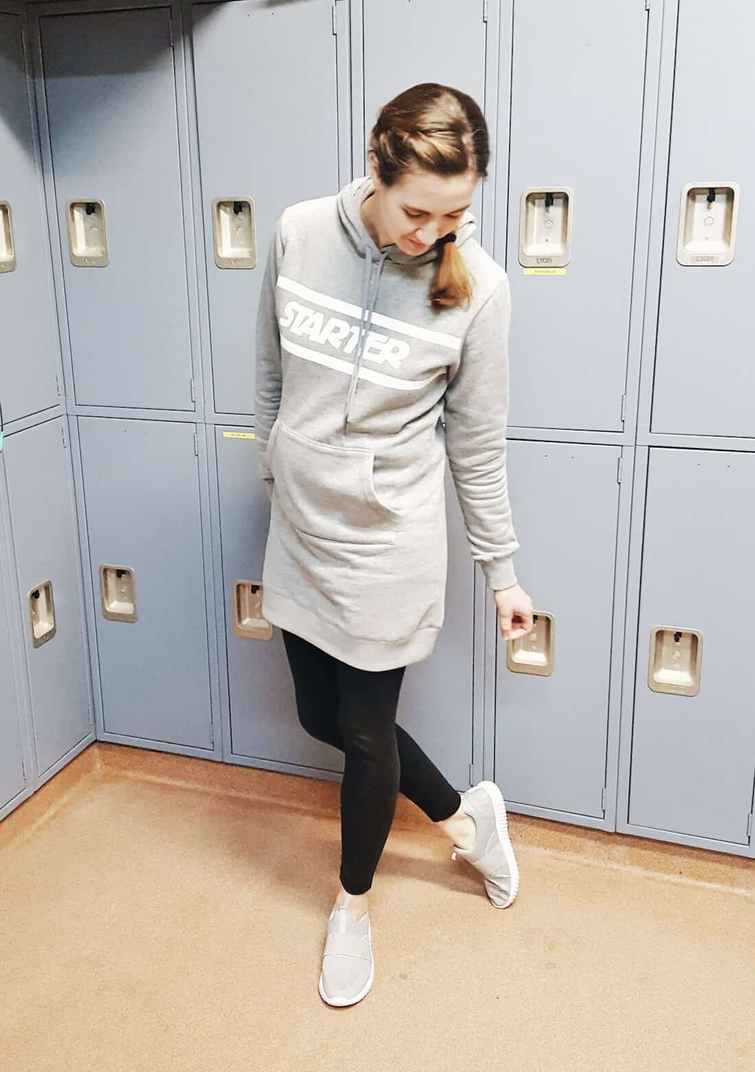 Comfy Casual First Trimester Outfit Idea: Sweatshirt Dress with leggings #maternityfashion #activewear