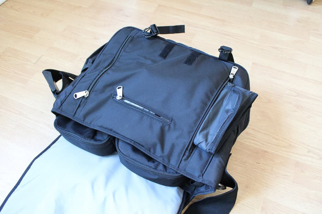 A review of the Obersee Madrid—a diaper bag backpack with great organization features for moms and dads! #diaperbag #bestdiaperbags #babygear #babyregistry