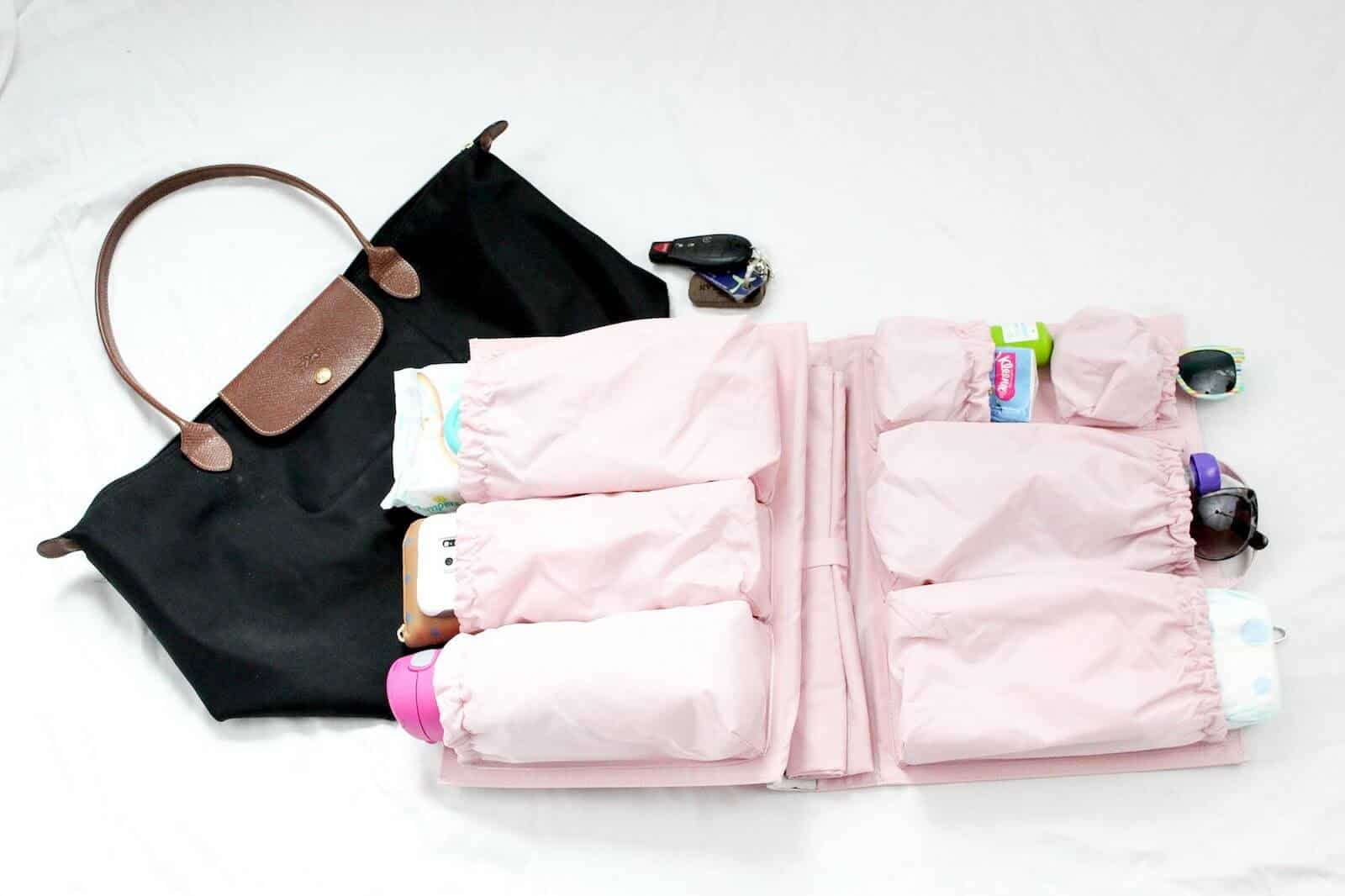 Using the ToteSavvy to turn a purse into a toddler diaper bag, plus all the essentials!